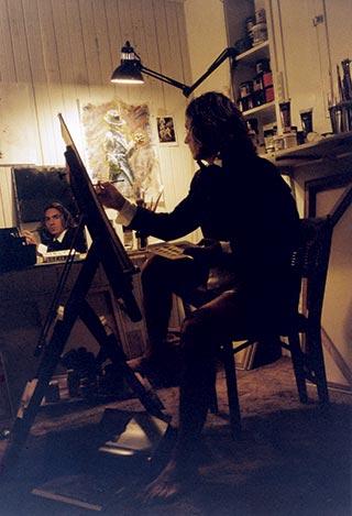 Fabian Perez painting himself in studio