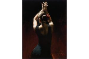 Flamenco Dancer in Black Dress painting