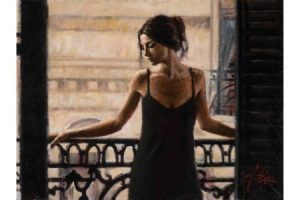 Luciana at the Balcony painting