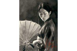 Michiko with Umbrella (Black and White) painting