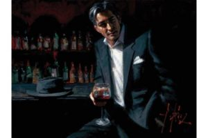 Black Suit Red Wine painting