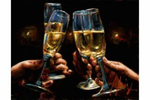 Brindis con Champagne - Horizontal painting