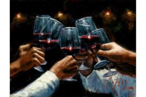 For a Better Life, Red Wine with Lights painting