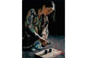 Geisha Pouring Sake painting