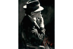 Smoking under the Light - Ink painting