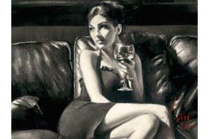 Tess on Leather Couch with Wine - Ink painting