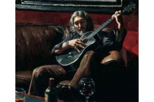 Self portrait with Guitar on the Couch