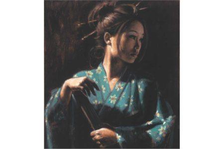 Geisha en Turquesa painting