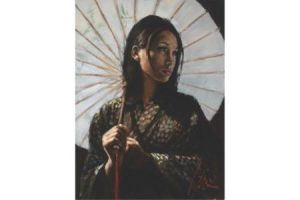 Michiko II with White Umbrella painting