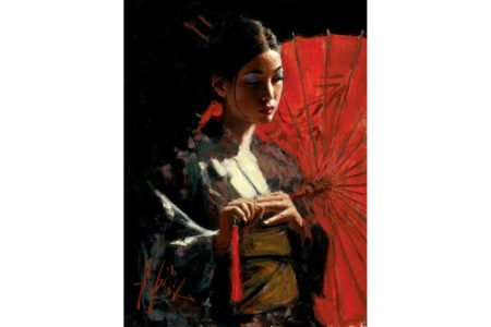 Michiko with Red Umbrella painting