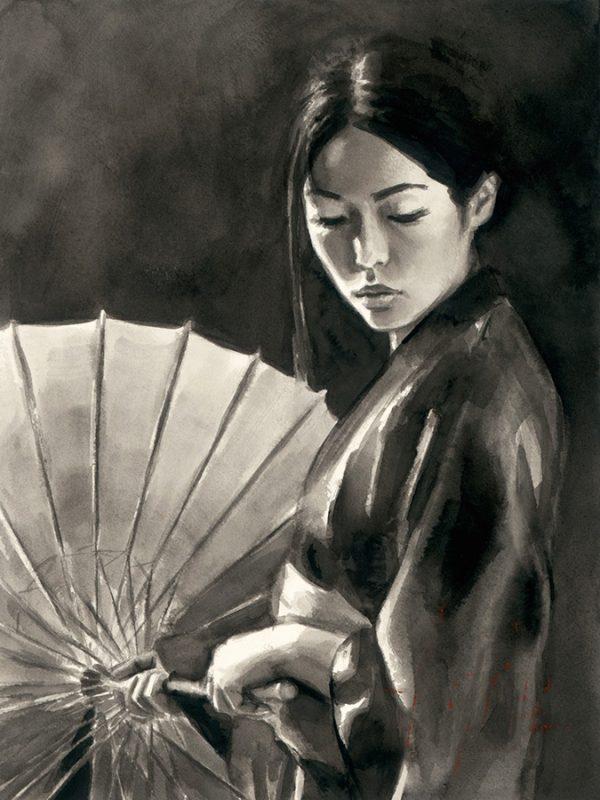 Michiko with Umbrella (Black and White)