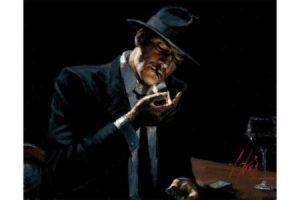 Man Lighting Cigarette painting
