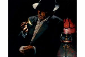 Man Lighting Cigarette II painting