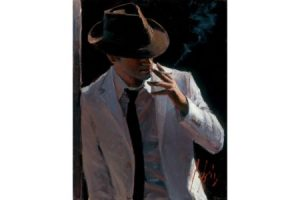 Marcus with Hat and Cigarette painting