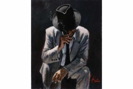 Smoking Under the Light White Suit painting
