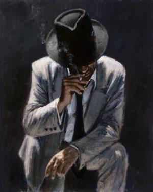 Smoking Under the Light White Suit