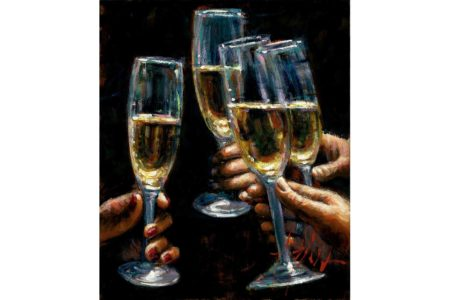 Brindis con Champagne painting