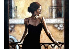 Brunette at the Balcony painting