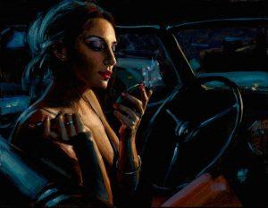 Darya in Car with Lipstick - Horizontal