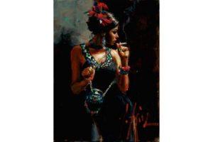 Linda Smoking under the Light painting