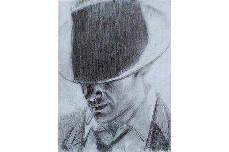 Man with hat - Pencil sketch