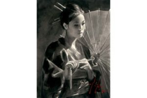 Michiko with Red Umbrella Ink painting
