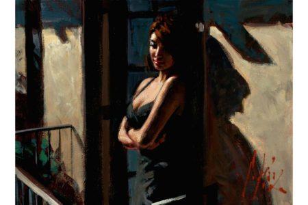 Saba at the Balcony Black Dress painting