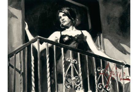 Saba at the Balcony II - Ink painting