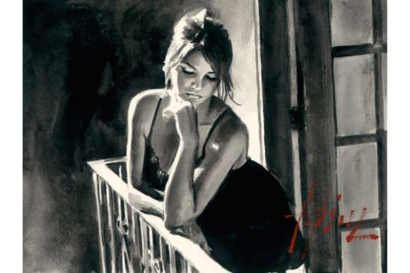 Saba at the Balcony - Ink painting