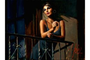 Saba at the Balcony VII black Dress painting
