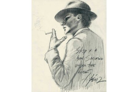 Study a man Smoking Cigarette under the Light - Pencil sketch