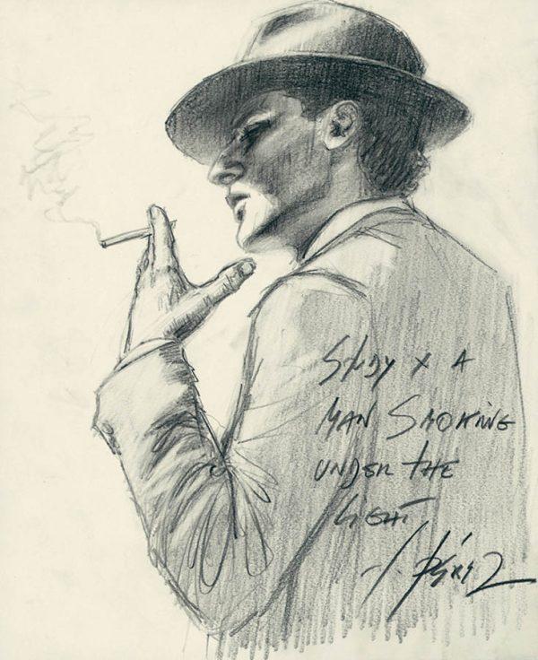 Study a man Smoking Cigarette under the Light - Pencil