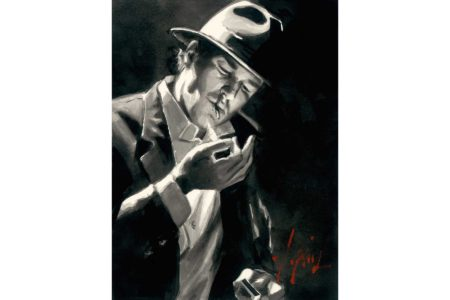 Study for man Lighting Cigarette - Ink painting