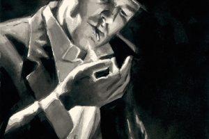 Study for man Lighting Cigarette - Ink