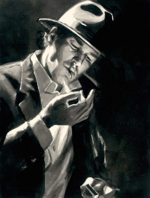 Study for man Lighting Cigarette - Ink