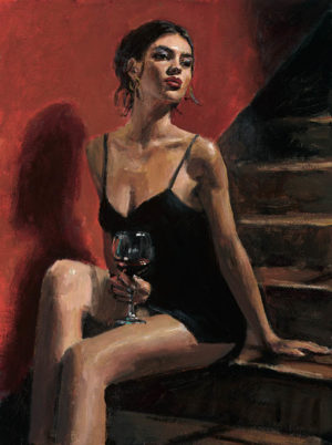 Girl with Red at Stairs - Red Wall