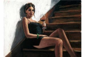 Girl with Red at Stairs painting