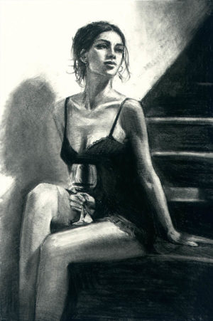 Girl with Red at Stairs II - charcoal
