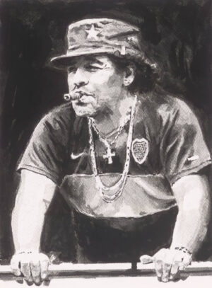 Diego Maradona ink portrait