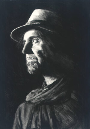 Phil Campbell charcoal I portrait